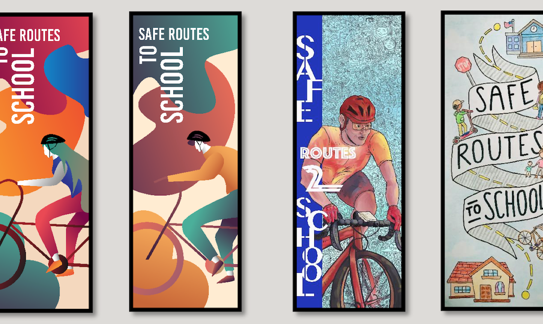 New Streetlight Banners Made by Students Encourage Walking and Biking