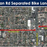 McClellan protected bike lanes east of Stelling break ground August 3