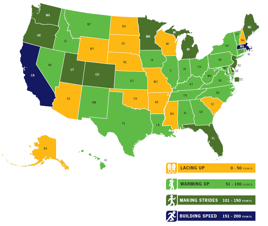 California has best state support for walking, biking and physical activity